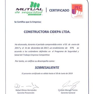 Nuevo reconocimiento en Seguridad y Salud a Cidepa Ltda.
