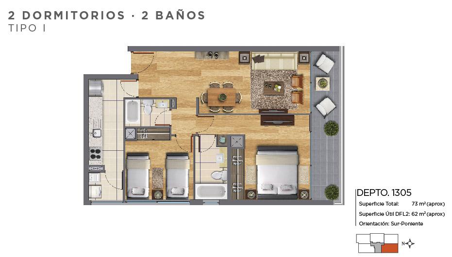 2 dormitorios 2 baños