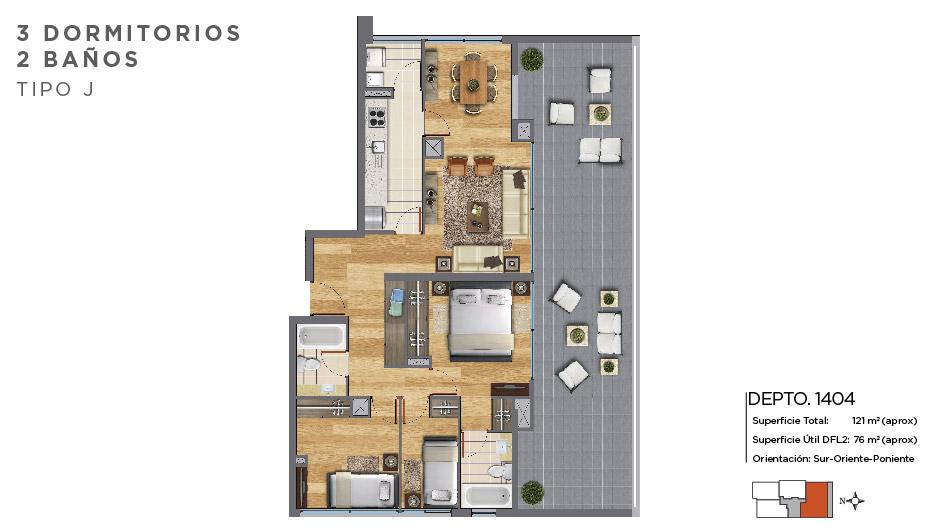 3 dormitorios 2 baños