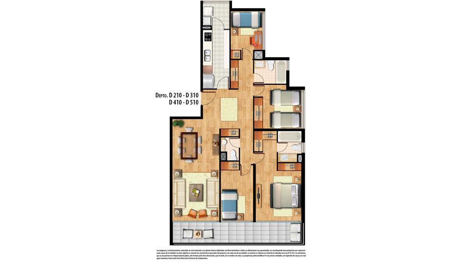 4 dormitorios 3 baños
